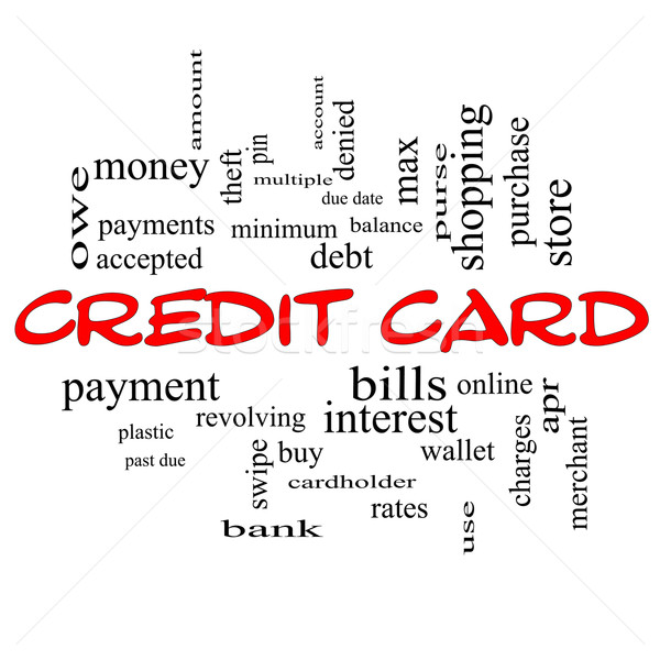 Credit Card Word Cloud Concept in red caps Stock photo © mybaitshop