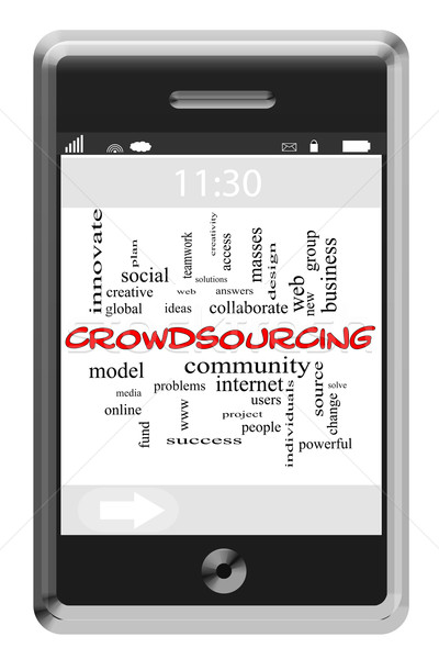 Crowdsourcing Word Cloud Concept on Touchscreen Phone Stock photo © mybaitshop