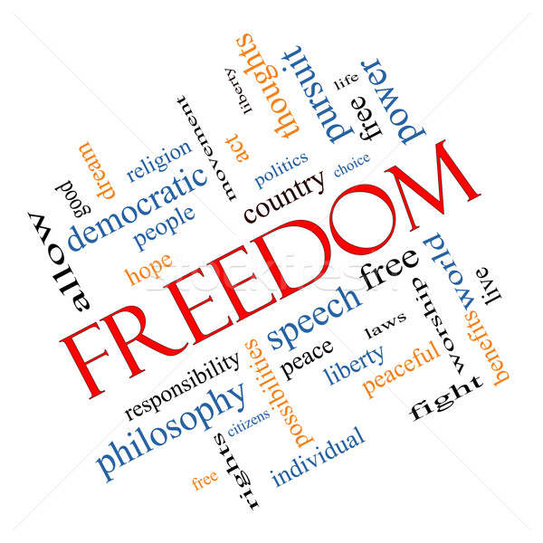 Freedom Word Cloud Concept Angled Stock photo © mybaitshop
