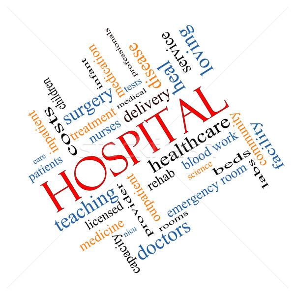 Hospital Word Cloud Concept Angled Stock photo © mybaitshop