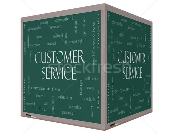 Servicio al cliente nube de palabras 3D cubo pizarra Foto stock © mybaitshop