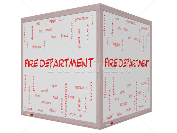 Fire Department Word Cloud Concept on a 3D cube Whiteboard Stock photo © mybaitshop