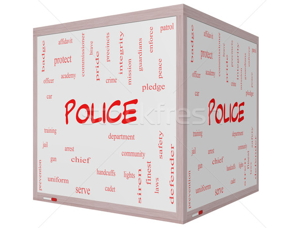 Police Word Cloud Concept on a 3D cube Whiteboard Stock photo © mybaitshop