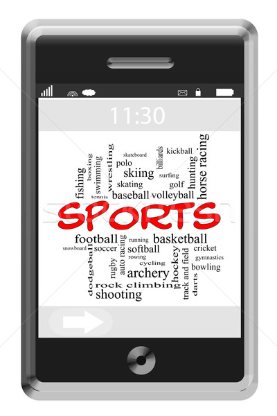Sports Word Cloud Concept on Touchscreen Phone Stock photo © mybaitshop