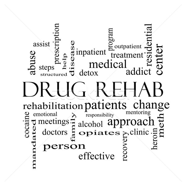 Drug Rehab Word Cloud Concept in black and white Stock photo © mybaitshop
