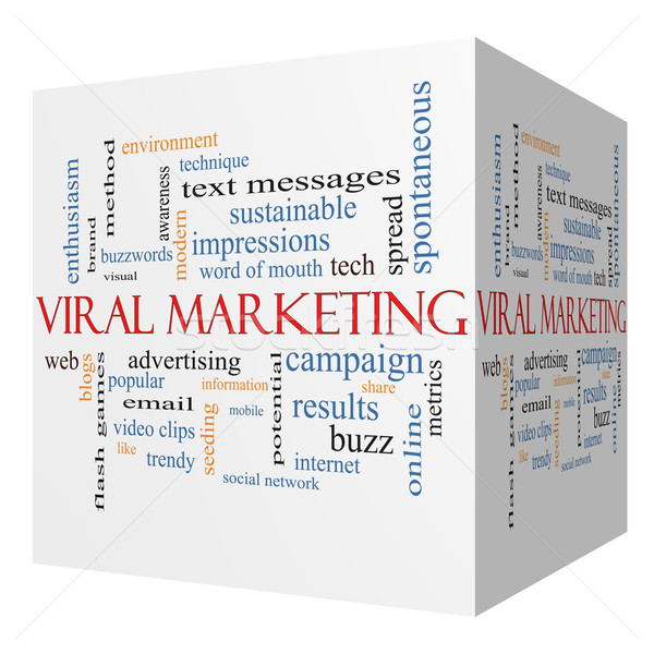Virale marketing 3D cubo word cloud lavagna Foto d'archivio © mybaitshop