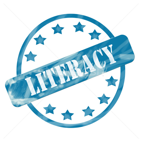 Blue Weathered Literacy Stamp Circle and Stars Stock photo © mybaitshop