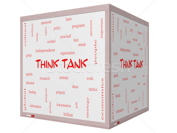 Think Tank Word Cloud Concept on a 3D cube Whiteboard Stock photo © mybaitshop