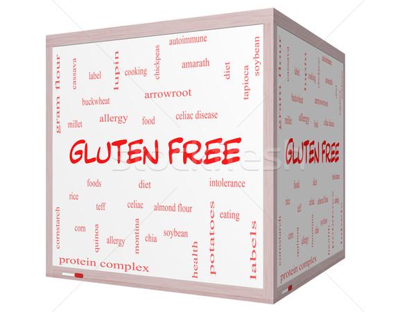 Sin gluten nube de palabras 3D cubo Foto stock © mybaitshop