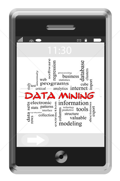 Data Mining Word Cloud Concept on a Touchscreen Phone Stock photo © mybaitshop
