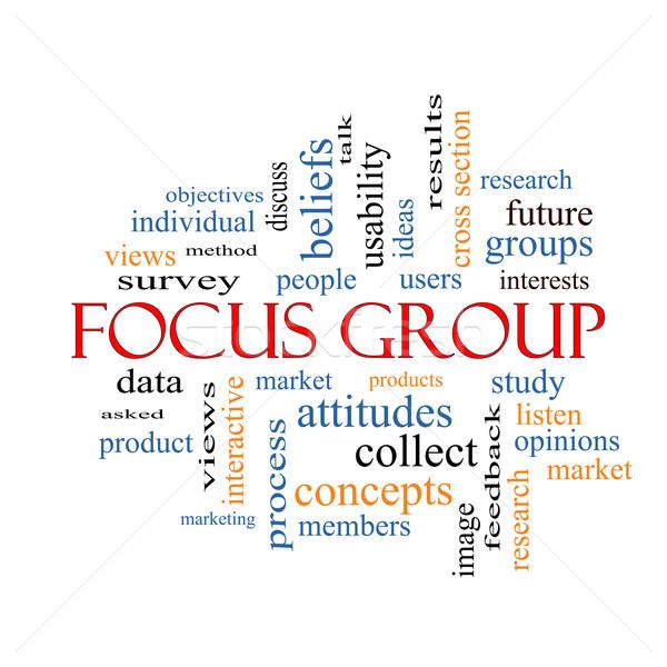 Groupe de discussion nuage de mots magnifique recherche utilisateurs écouter Photo stock © mybaitshop