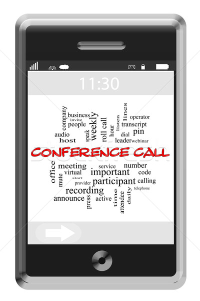 Conference Call Word Cloud Concept on a Touchscreen Phone Stock photo © mybaitshop
