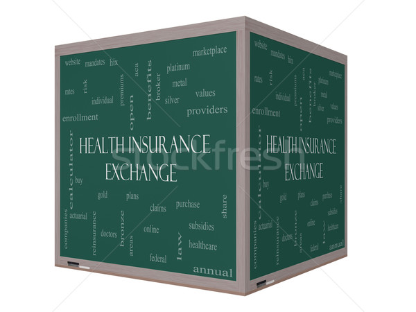 Медицинское страхование обмена слово облако 3D куб доске Сток-фото © mybaitshop