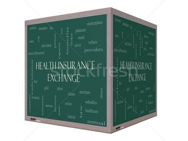 Health Insurance Exchange Word Cloud Concept on a 3D cube Blackboard Stock photo © mybaitshop