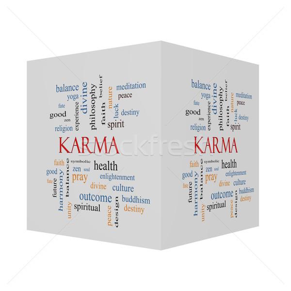 Karma 3D kocka szófelhő nagyszerű egyensúly Stock fotó © mybaitshop