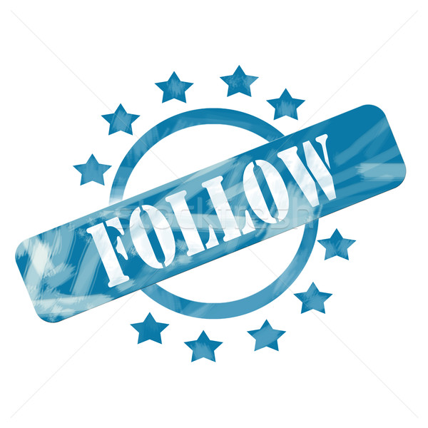 Blue Weathered Follow Stamp Circle and Stars design Stock photo © mybaitshop