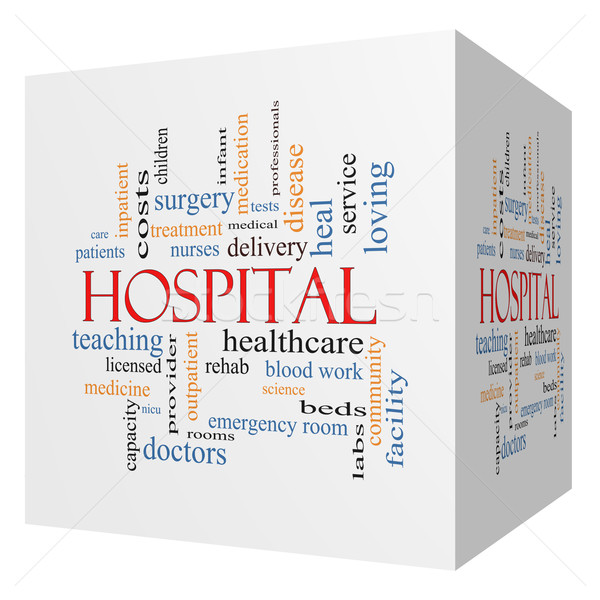 Hospital 3D Cube Word Cloud Concept Stock photo © mybaitshop