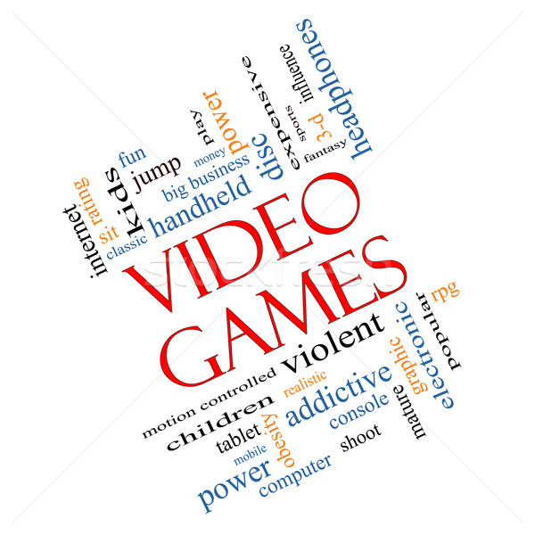 Video Games Word Cloud Concept Angled Stock photo © mybaitshop