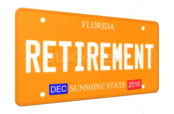3D Retirement Florida License plate Stock photo © mybaitshop