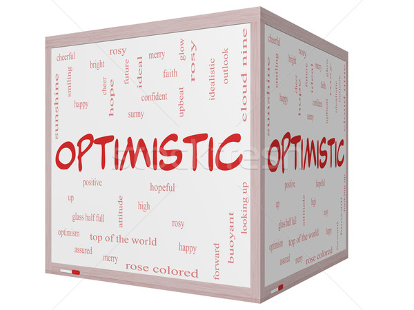 Optimistic Word Cloud Concept on a 3D cube Whiteboard Stock photo © mybaitshop