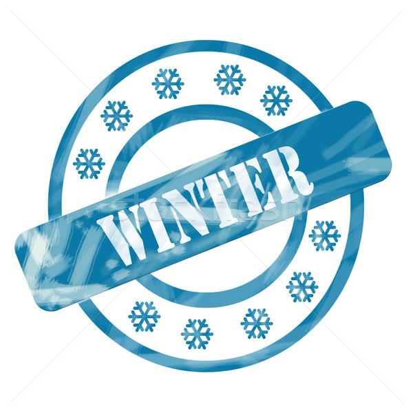 Stock fotó: Kék · viharvert · tél · bélyeg · körök · hópelyhek