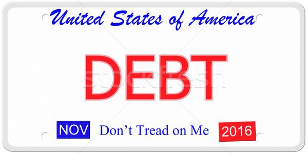 Deuda placa imitación Estados Unidos palabras 2016 Foto stock © mybaitshop