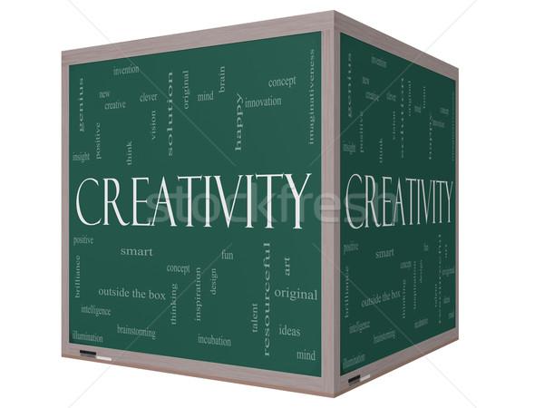 Photo stock: Créativité · nuage · de · mots · 3D · cube · tableau · noir · tableau