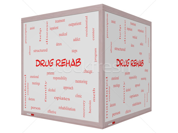Drug Rehab Word Cloud Concept on a 3D Cube Whiteboard Stock photo © mybaitshop