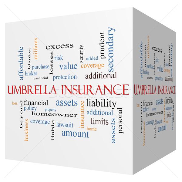 Umbrella Insurance 3D cube Word Cloud Concept Stock photo © mybaitshop