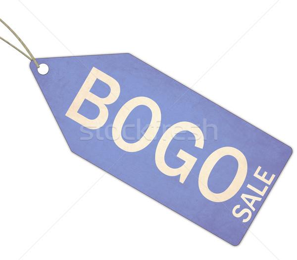 Sprzedaży niebieski tag ciąg biały Zdjęcia stock © mybaitshop