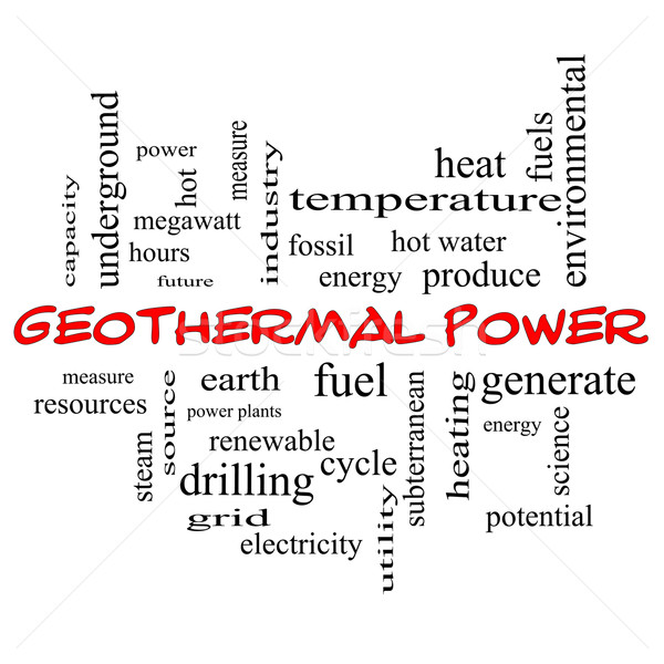Geothermal Power Word Cloud Concept in red caps Stock photo © mybaitshop