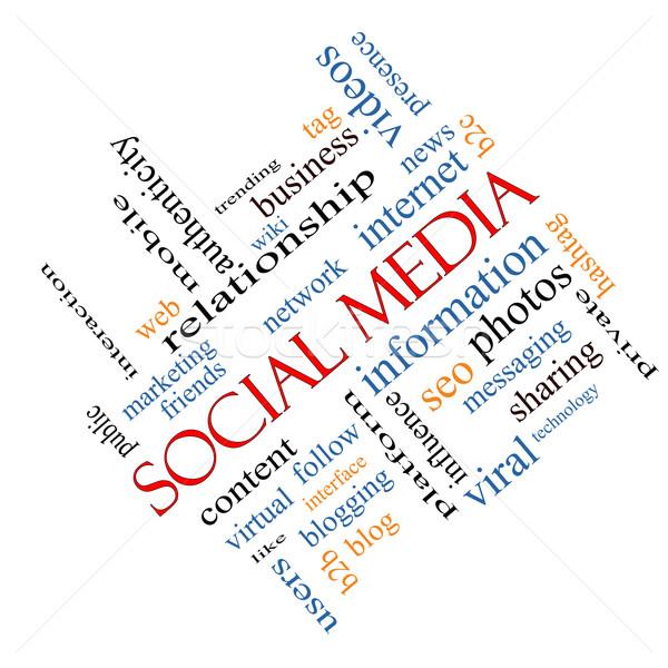 ソーシャルメディア 言葉の雲 ネットワーク コンテンツ もっと ストックフォト © mybaitshop