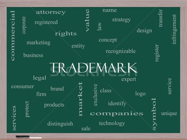 Védjegy szófelhő iskolatábla nagyszerű márka logo Stock fotó © mybaitshop