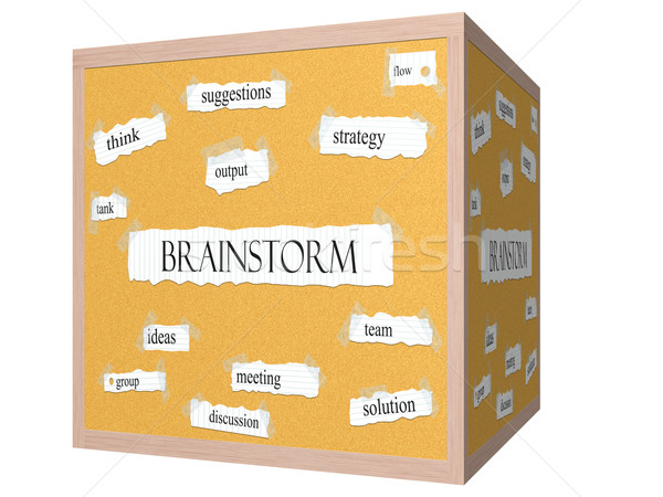 Brainstorm 3D cube Corkboard Word Concept Stock photo © mybaitshop