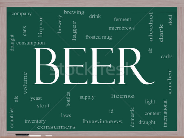Cerveza nube de palabras pizarra taza Foto stock © mybaitshop