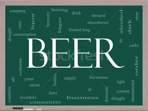 Beer Word Cloud Concept on a Blackboard Stock photo © mybaitshop