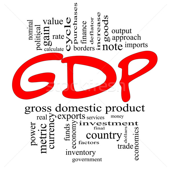 GDP Word Cloud Concept in Red & Black Stock photo © mybaitshop