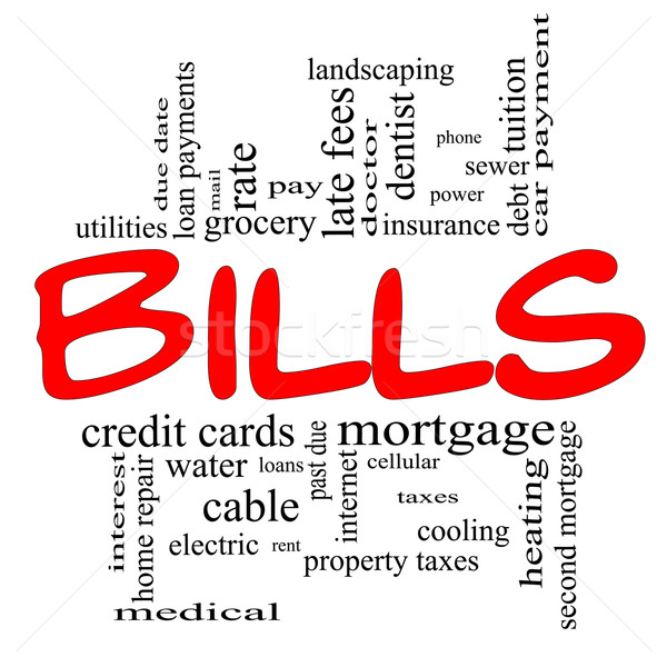 Bills Word Cloud Concept in red & black Stock photo © mybaitshop