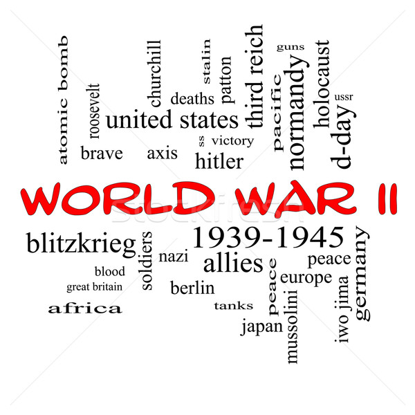 World War II Word Cloud Concept in Red Caps Stock photo © mybaitshop