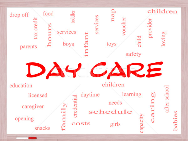 Day Care Word Cloud Concept on a Whiteboard Stock photo © mybaitshop