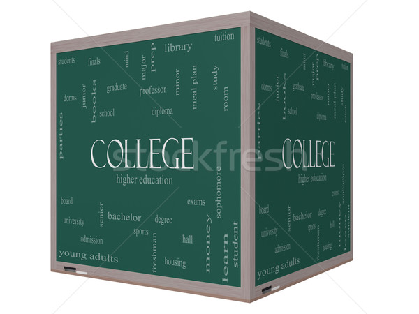 College Word Cloud Concept on a 3D Cube Blackboard Stock photo © mybaitshop