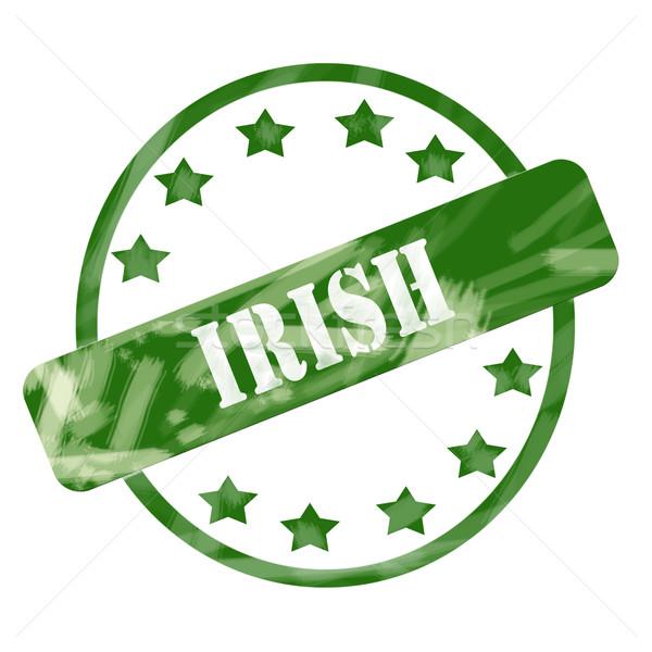 Verde capeado irlandés sello círculo estrellas Foto stock © mybaitshop