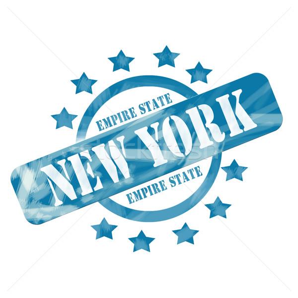 Blue Weathered New York Empire State Stamp Circle and Stars Design Stock photo © mybaitshop