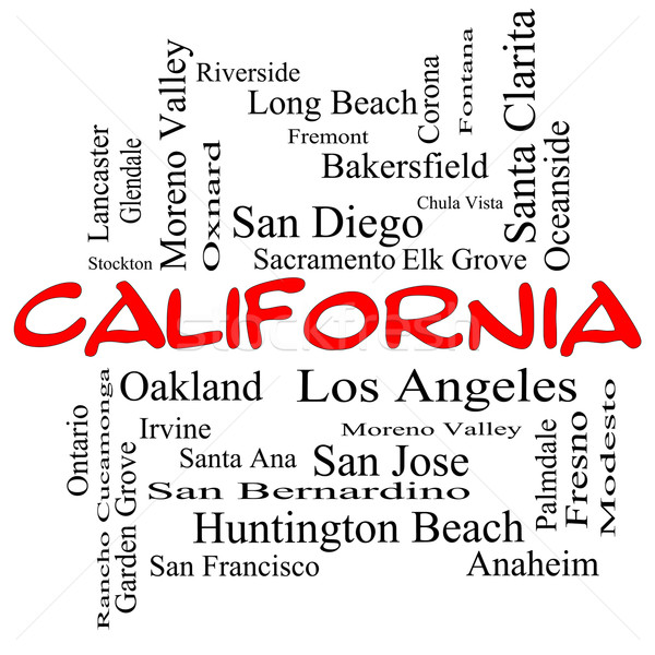 California State Word Cloud Concept in red caps Stock photo © mybaitshop
