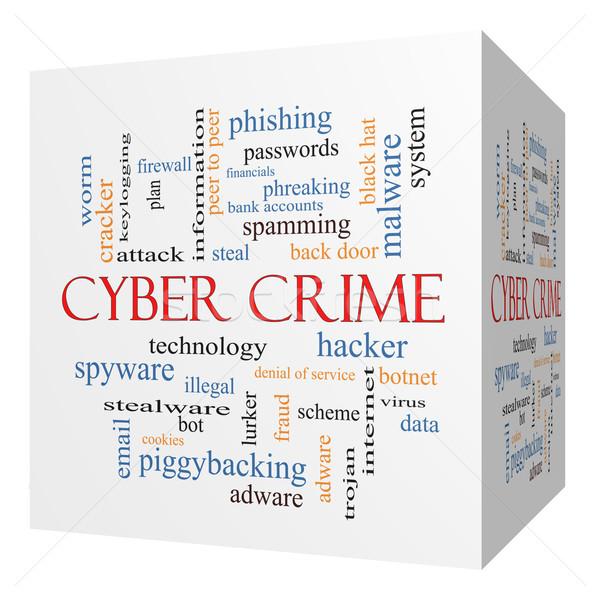 Przestępczości 3D kostki chmura słowo hacker Zdjęcia stock © mybaitshop