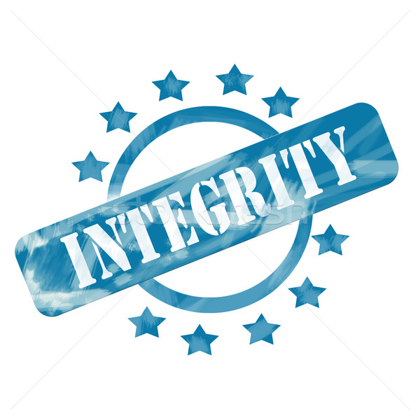 Stock photo: Blue Weathered Integrity Stamp Circle and Stars design