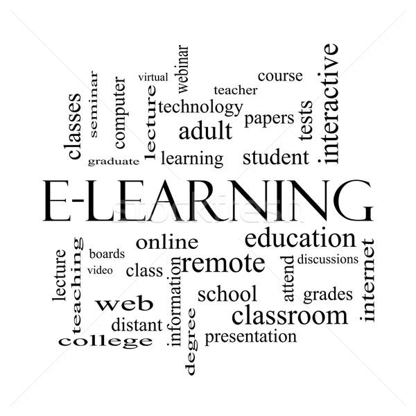 Online oktatás szófelhő feketefehér nagyszerű online iskola Stock fotó © mybaitshop