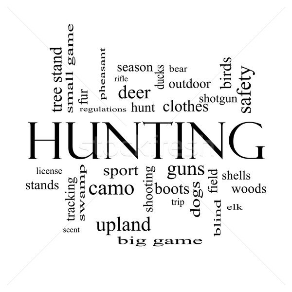 Hunting Word Cloud Concept in black and white Stock photo © mybaitshop
