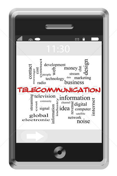 Telecommunication Word Cloud Concept on Touchscreen Phone Stock photo © mybaitshop