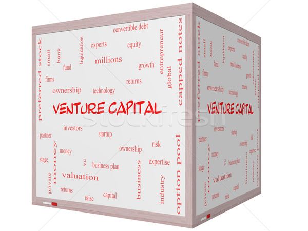 Venture Capital Word Cloud Concept on a 3D cube Whiteboard Stock photo © mybaitshop